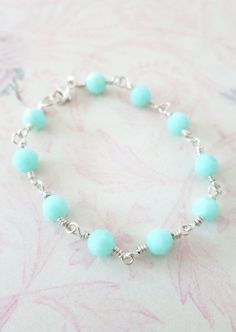 Sterling Silver Swarovski Mint Beads Bracelet