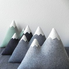 the Peaks - wool mountain pillow plush - cool greys by ThreeBadSeeds on Etsy
