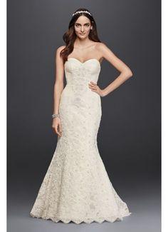 Oleg Cassini Strapless Lace Trumpet Wedding Dress CRL277