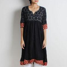 Black Ikat Cotton Hand Block Print Long Crinkled Anarkali With Ikat Yoke