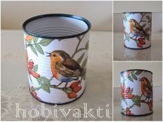 ♥♥ Hobi Vakti ♥♥ Tin Can Crafts, Metal Crafts, Diy And Crafts, Arts And Crafts, Decoupage Tins, Napkin Decoupage, Jute Crafts, Upcycled Crafts, Art N Craft