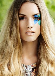 Blue Green Flower Fashion Face Paint