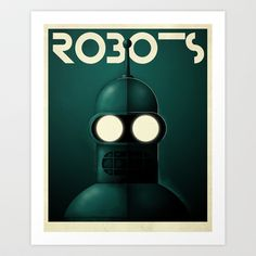 Robots - Bender Art Print by Greg-guillemin - $20.00. My house needs this now.