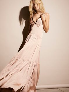Eve Maxi Dress | Ultra femme maxi dress featuring delicate lace along the plunging V-neckline. Sexy silky feel with a slight stretch in the fabrication.