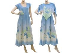 497e4d97b0 Artsy hand dyed boho maxi dress cotton in blue mint от classydress Mint