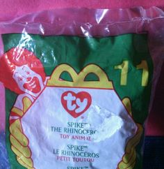 2000 Ty Teenie Beanie McDonalds Happy Meal Toy Spike #11 - Rhinoceros - Rhino #Ty
