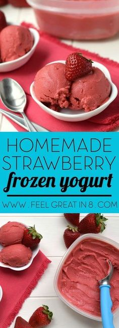 You only need 5 minutes and 4 healthy real food ingredients to make this Homemade Strawberry Frozen Yogurt - No ice cream maker required! At only 100 calories per serving, you'll love this sweet guilt-free dessert!: (no cook desserts 4 ingredients) Strawberry Frozen Yogurt, Frozen Yoghurt, Frozen Strawberries, Healthy Frozen Yogurt, Frozen Yogurt Recipes, Yogurt Ice Cream, Frozen Yogurt Calories, Blueberries, Strawberry Sherbert