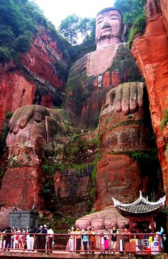 The Leshan Giant Buddha was carved out of a rock face the during the Tang Dynasty.