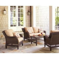Hampton Bay Woodbury 4-Piece Patio Seating Set with Textured Sand Cushion-DY9127-4-LV at The Home Depot