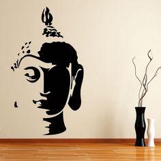 Hot Buddha Head Wall Art Sticker Decal Home DIY Decoration Wall Mural Removable Bedroom Decor Sticker Simple Wall Paintings, Creative Wall Painting, Wall Painting Decor, Buddha Wall Painting, Buddha Wall Art, Buddha Head, Buddha Kunst, Wall Drawing, Bathroom Art