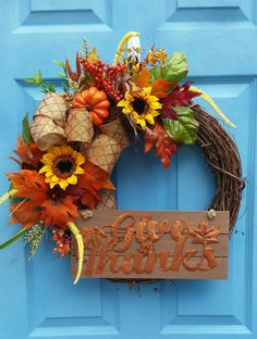Check out this item in my Etsy shop https://www.etsy.com/listing/472627394/give-thanks-fall-grapevine-wreath-with