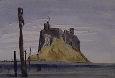 Holy Island, Lindisfarne, 1973 Building Art, Painting Gallery, Artist Painting, Monument Valley, Britain, England, Paintings, Artwork, Irish
