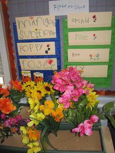 let's go fly a kite: Dramatic Play: Flower Shop - Jardim da infância Dramatic Play Themes, Dramatic Play Area, Dramatic Play Centers, Play Based Learning, Learning Through Play, Learning Games, Play Corner, Role Play Areas, Go Fly A Kite