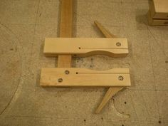 Shop made clamps. Very elegant solution, and could easily be adapted to make metal clamps for jigs, fixtures, etc...