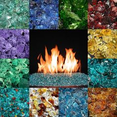 FIRE GLASS - Glass fire pit - Fire glass produces more heat than real wood, and is also environmentally friendly. There is no smoke, it's odorless and doesn't produce ash. You are able to stay toasty warm without cutting down trees and the specially formulated glass crystals give off no toxic deposit.