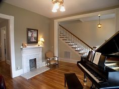 Ideal room with a fireplace just for my future baby grand:)
