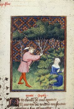 Harley 4431 fol 129v detail (Cephalus). Paris, France 1410-1414.Detail of a miniature of Cephalus accidentally killing his wife Procris in a forest while hunting, in 'L'Épître Othéa'.   Origin: France, Central (Paris)