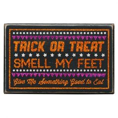 Trick Treat Glitter Box Sign - Halloween Box Signs and Decor