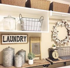 Shabby chic or vintage laundry rooms bring a touch of soft country charm to your home. With the pretty vintage laundry room decor ideas on this list, Rustic Laundry Rooms, Laundry Decor, Laundry Room Organization, Laundry Room Design, Laundry In Bathroom, Vintage Laundry Rooms, Laundry Closet, Basement Laundry, Garage Laundry