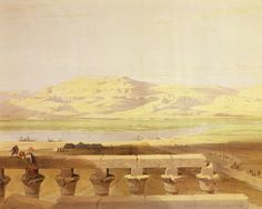 David Roberts - The Western Banks of The Nile Seen From Luxor