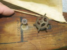 Vintage Keystone Model Toy Tin Wood Pond Boat Ship Yacht Sailboat