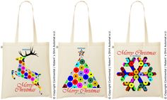 Merry Christmas, Man Child, Dots Design, Fashion Bags, Reindeer, Snowflakes, Reusable Tote Bags, Collection, Weihnachten