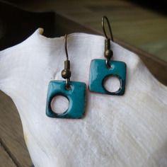 Boucles d'oreilles carrées fantaisies -  émaux sur cuivre turquoise
