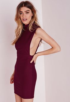 Missguided - High Neck Cut Out Bodycon Dress Burgundy