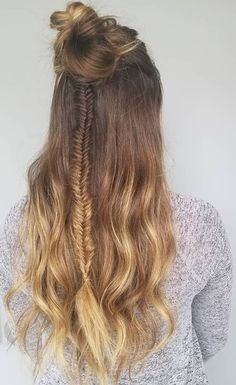 Fish tail braids and messy buns.