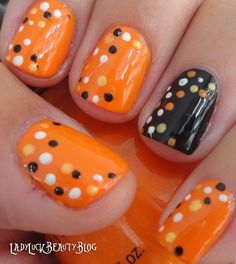 Candy corn colored polka dots nail polish - Not for the halloween ideas but this dot pattern in other colors!