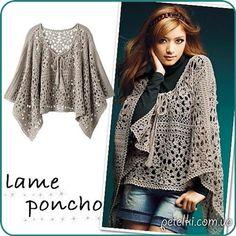 Crochet Lame Poncho ~ Diagrams/Charts Only ~ Not in English | Ажурное пончо из круглых мотивов. Схемы