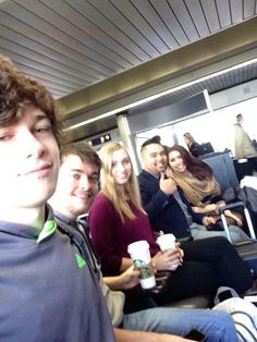 A bunch of pals at the airport