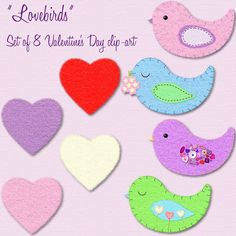 This clip art set includes 4 felt hearts and 4 felt birds. The realistic texture of these felt stickers add a nice touch to any Valentine's Day card, party invitations, and scrapbook pages.    Find at my Etsy shop: hatofbunny.etsy.com    Personal and com http://www.tpt-fonts4teachers.blogspot.com/2013/01/san-valentines-day-free-clip-arts.html