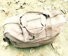 Holdall in Vintage Cognac Leather. Perfectly camouflaged against the sand in Hyde Park yesterday