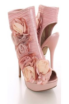 this very stylish ankle bootie heels featuring pleated chiffon upper side contrast rosette accent cut out heels side zipper closure and satin wrap
