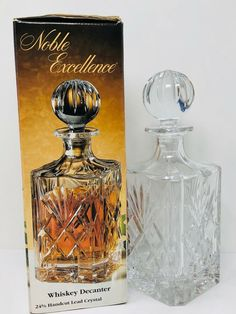 Lead Crystal Whiskey Decanter Noble Excellence Poland #NobelExcellence #TraditionalCutGlass #AllOccasions Whiskey Decanter, Crystal Decanter, Shot Glasses, Cut Glass, Poland, Bath And Body, Liquor, Perfume Bottles, Crystals