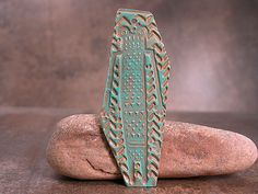 Tribal Figure Goldie Bronze Metal Clay Pendant with Verdigris Patina Divine Spark Designs SRA LETeam on Etsy, Sold