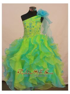 Multi-color Flower Girl Pageant Dress For Formal Party With Ruffles and Flowers Decorate  http://www.fashionos.com  The top features the embroidery and beads while the one-shoulder neckline with a handmade flower matches the bottom perfectly. Layers of ruffles in contrasting colors gives you a touch of delicate beauty. A corset back completes the look.