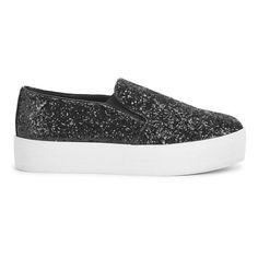 Steve Madden Women's Bubha Glitter Slip On Flatform Trainers - Black... (634.315 IDR) ❤ liked on Polyvore featuring shoes, sneakers, trainers, black, flatform sneakers, steve madden sneakers, slip on sneakers, black slip-on sneakers and slip-on shoes