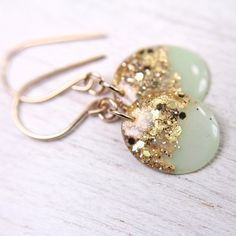 mint earrings with gold leaf and glitter on 14k gold filled ear wires, 1.25 inches long - SMALL SIZE