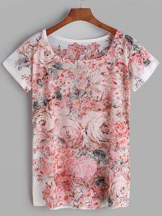 Camiseta de mangas corta con estampado floral-(Sheinside)