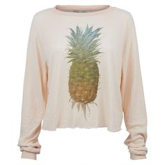 Wildfox Wildfox Rainbow Pineapple Luca Crop (9.365 RUB) ❤ liked on Polyvore featuring tops, shirts, pineapple print shirt, pineapple top, pink shirt, rainbow shirt and pink crop top