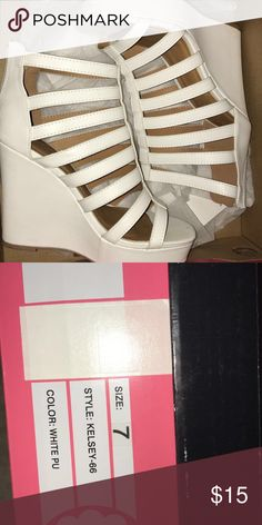 womens heels White heels from Charlotte Russe, worn a handful of times but still in good condition. Any questions feel free to ask! Charlotte Russe Shoes Heels