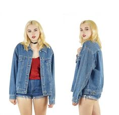 Medium Wash 90s Denim Jacket Vintage Grunge Jean Jacket