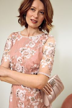Beautiful Mother of the bride look from Monsoon with flower detail and mesh overlay.