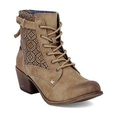 Roxy Asheville Boot ($89) ❤ liked on Polyvore featuring shoes, boots, tan, synthetic shoes, leather lace up shoes, tan shoes, tan boots and leather lace up boots