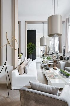 Kelly Hoppen's contemporary white & grey open plan house. Modern and country, small and large, furniture and colours. The best living room decoration ideas from House & Garden.