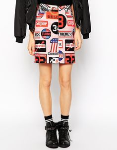 Image 4 ofLove Moschino Skirt In All Over Badge Print