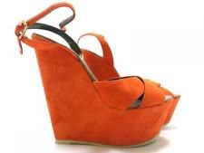 AV519 EDDY DANIELE sandals EU 41 US 11 women shoes suede orange