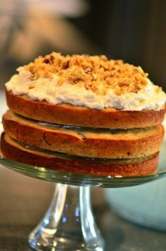 Banana walnut cake recipe. This one's for my Mom, it is her favorite cake.